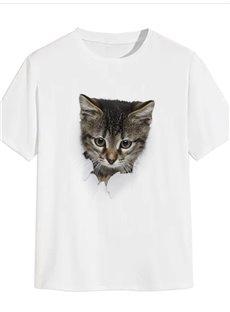 Beddinginn Casual Print Little Cat Short Sleeve Men's T-shirt