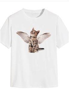 Beddinginn Short Sleeve Casual Cat Print Men's T-shirt