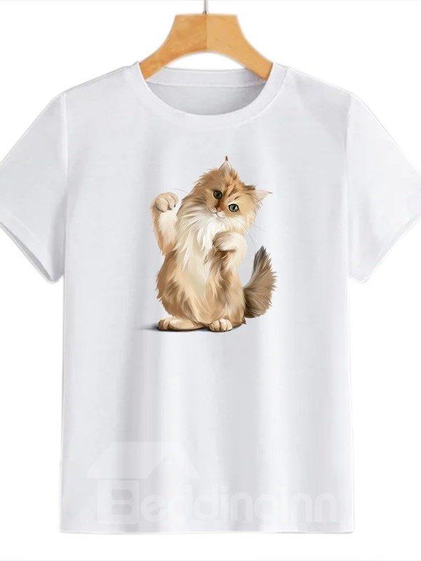 Beddinginn Round Neck Sweet Cat Standard Short Sleeve Straight Women