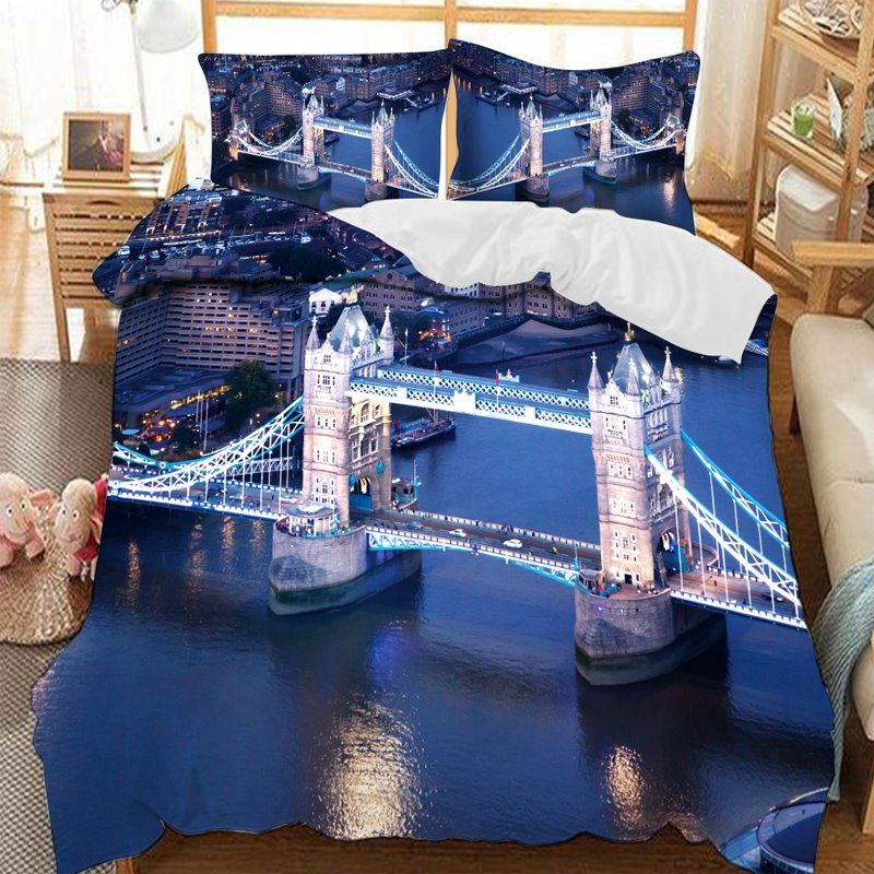 London Bridge Over The Blue Sea Printed 3-Piece Comforter Sets
