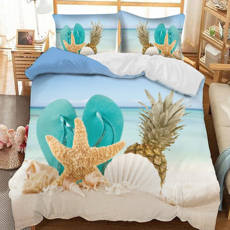 Slippers On The Beach With Pineapple Starfish and Shells Printed 3-Piece Comforter Sets
