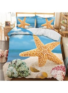 Yellow Starfish And Green Whelks On The Beach Printed 3-Piece Comforter Sets