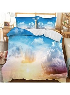 Blue And Purple Clouds In The Sunlight Printed 3-Piece Comforter Sets