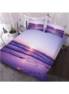Purple Sea And Beach Printed 3-Piece Comforter Sets
