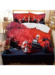 The Red Skull On The Table Printed 3-Piece Comforter Sets