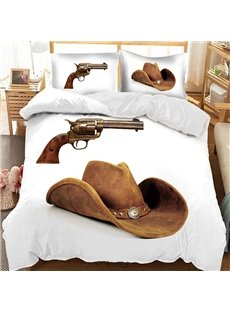 A Cowboy's Gun And Hat Printed 3-Piece Comforter Sets