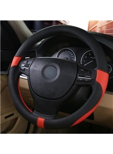 Sports Style Mixed Colors Genuine PU Leather Massage Breathable Anti-Slip & Odor-Free Steering Wheel Cover