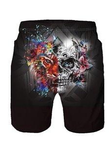 Beddinginn Straight Print Color Block Elastics Men's Shorts