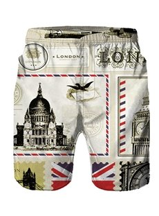 Beddinginn Pleated Straight Architecture Casual Men's Shorts
