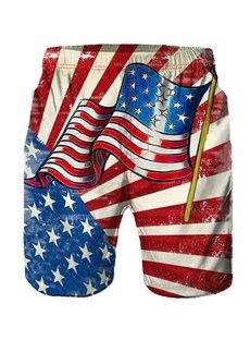 Beddinginn Stripe Print Straight Casual Men's Shorts