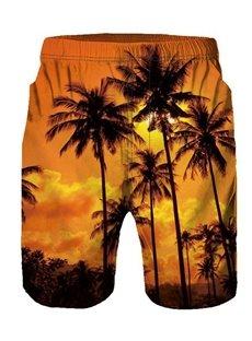 Beddinginn Print Color Block Straight Elastics Men's Shorts