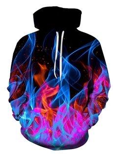 Beddinginn Thick Print Color Block Pullover Pullover Men's Hoodies