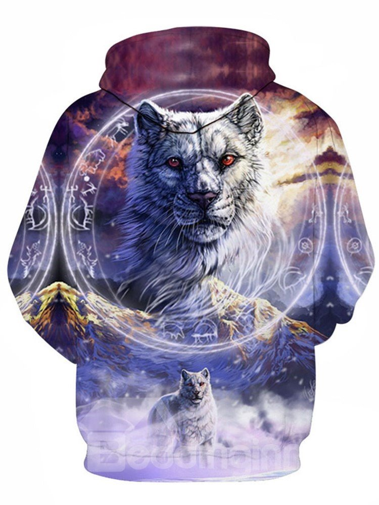 Beddinginn Animal Thick Print Pullover Casual Men