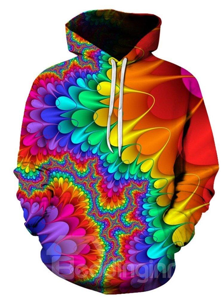Beddinginn Pullover Print Thick Color Block Hooded Men