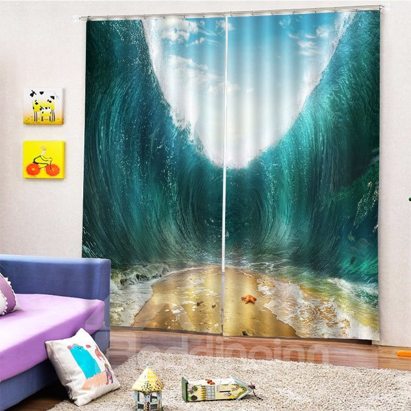 Beddinginn Ultraviolet-Proof 3D Modern Sea Curtains/Window Screens