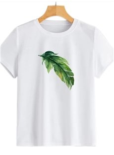 Beddinginn Short Sleeve Plant Standard Round Neck Straight Women's T-Shirt