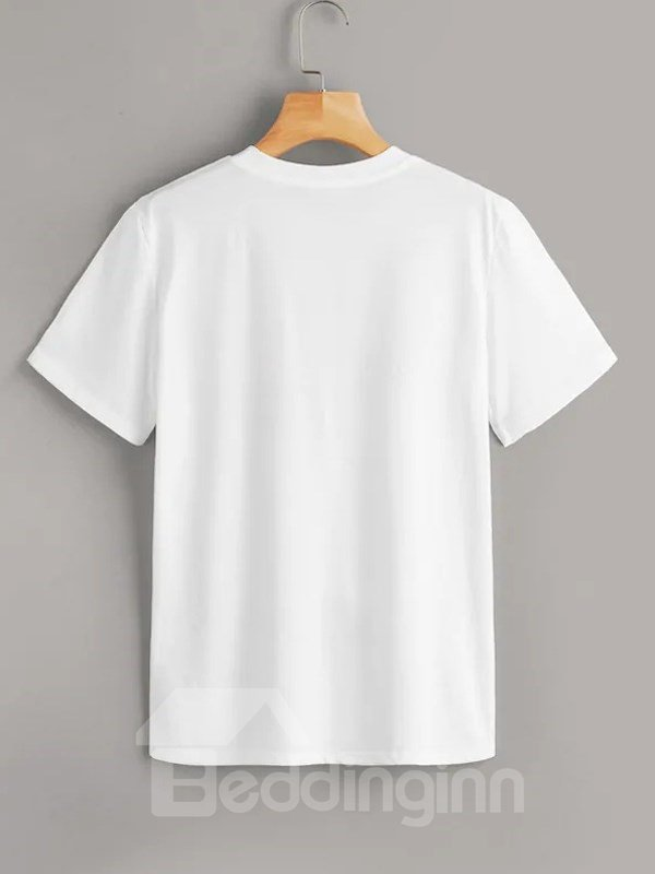 Beddinginn Round Neck Letter Standard Short Sleeve Fall Women