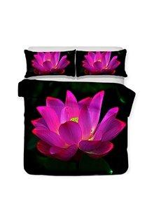 Purple Lotus On The Black Lake Printed 3-Piece Bedding Sets/Duvet Covers