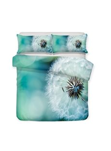 Dandelion On The Green Background Printed 3-Piece Bedding Sets/Duvet Covers