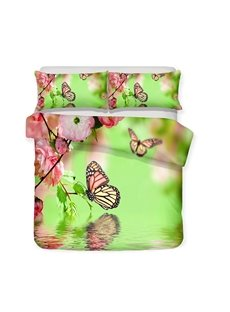 Peach Blossoms And Butterflies On The Water Printed 3-Piece Bedding Sets/Duvet Covers