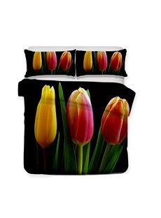 Three Tulips With Yellow Pink And Red Color Printed 3-Piece Bedding Sets/Duvet Covers