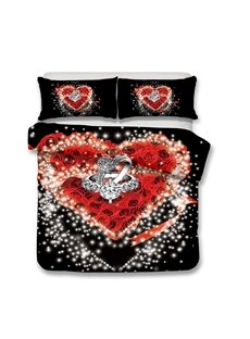 Couple Rings On The Heart-shaped Rose Printed 3-Piece Bedding Sets/Duvet Covers
