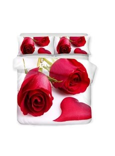 Two Roses And A Heart-shaped Petal Printed 3-Piece Bedding Sets/Duvet Covers
