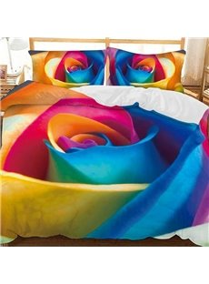 Colorful Rainbow Rose Printed Polyester 3-Piece Bedding Sets/Duvet Covers