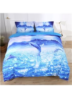 Dolphins Jumping Out Of The Blue Sea Printed Polyester 3-Piece Bedding Sets/Duvet Covers