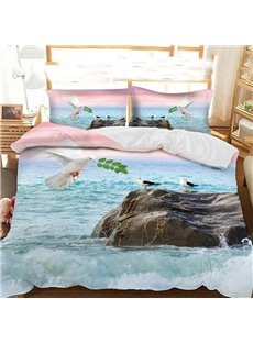 The Dove Of Peace On The Sea Under The Pink Sky Printed Polyester 3-Piece Bedding Sets/Duvet Covers