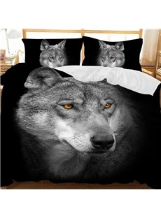 A Close-up Of The Wolf's Determined Gaze Printed Polyester 3-Piece Bedding Sets/Duvet Covers