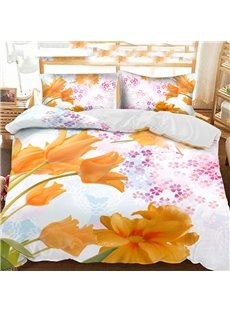 3D Yellow Tulips And Purple Little Petal Printed Polyester 3-Piece Bedding Sets/Duvet Covers