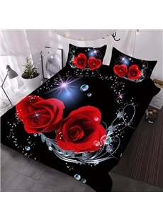 Romantic Red Roses 3D Warm Comforter 3-Piece Soft Comforter Sets with 2 Pillowcases
