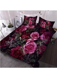 3D Red Roses And Pink Roses Among Babysbreath Printed Polyester 3-Piece Comforter Sets