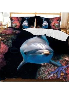 A Dolphin Near Red Coral In The Deep Sea Printed Polyester 3-Piece Bedding Sets/Duvet Covers