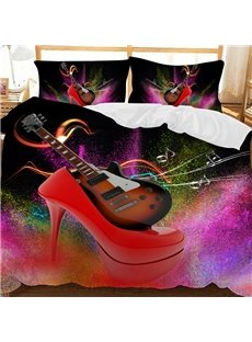 Electric Guitar In Red High Heels Printed Polyester 3-Piece Bedding Sets/Duvet Covers