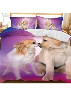 Chihuahua And Golden Retriever Printed Polyester 3-Piece Bedding Sets/Duvet Covers