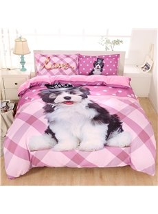 A Black And White Dog In A Top Hat Printed Polyester 3-Piece Bedding Sets/Duvet Covers