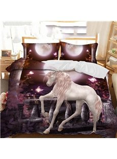 White Horse By The Lake In The Purple Moonlight Printed Polyester 3-Piece Bedding Sets/Duvet Covers