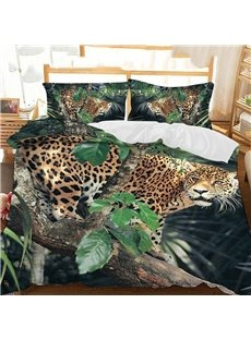 A Leopard On A Leafy Branch Printed Polyester 3-Piece Bedding Sets/Duvet Covers