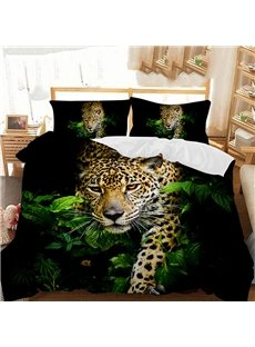 The Leopard Came Out Of The Bush Printed Polyester 3-Piece Bedding Sets/Duvet Covers