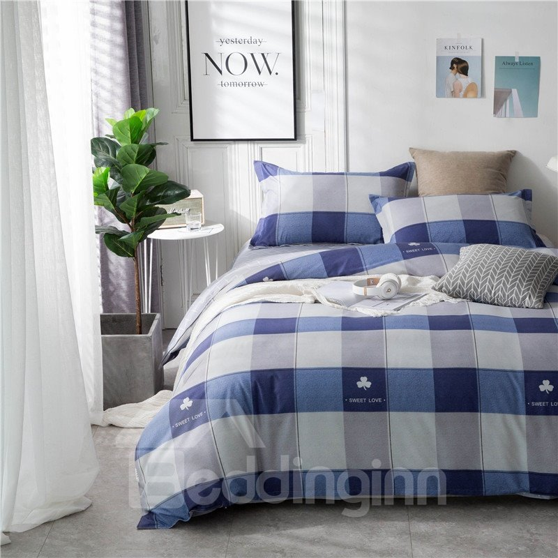 Blue Series Checked Pattern Printed Aloe Cotton 4-Piece Bedding Sets/Duvet Covers