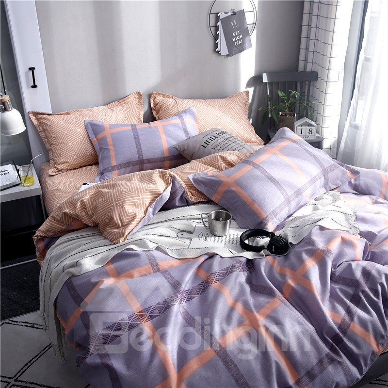 Lavender Checked Pattern With Orange Lines Printed Aloe Cotton 4-Piece Bedding Sets/Duvet Covers