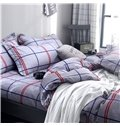 Gray Checked Pattern With Red And Blue Lines Printed Aloe Cotton 4-Piece Bedding Sets/Duvet Covers