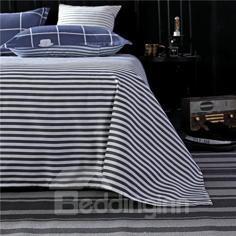 Navy Blue Checked Pattern Printed Aloe Cotton 4-Piece Bedding Sets/Duvet Covers