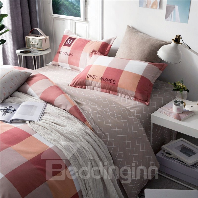 Pink-And-White Checked Printed Aloe Cotton 4-Piece Bedding Sets/Duvet Covers