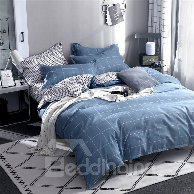 Blue Checked Pattern Printed Aloe Cotton 4-Piece Bedding Sets/Duvet Covers