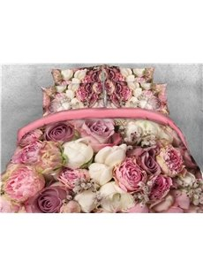 Plenty of 3D Pink Roses And White Roses Printed 5-Piece Comforter Sets