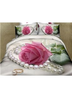 3D Pink Rose And Pearl Printed 5-Piece Comforter Sets