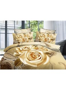 3D Champagne Rose Printed 5-Piece Comforter Sets